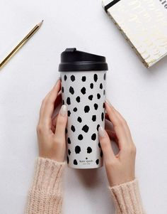 Kate Spade travel cup! Love this! Black and white, polka dots, coffee mug, tea, #cute #affiliate Thermal Travel Mug, Thermal Mug, Frosty The Snowmen, Mode Online, Desk Accessories, Drinkware, Flamingo, Travel Cup, Christmas 2017
