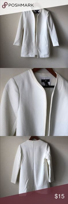 H&M cream colored textured blazer jacket Cream colored textured blazer jacket - open front - lined - no stains - pockets - like new! - size 6 H&M Jackets & Coats