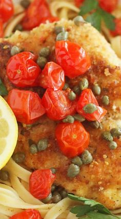 With a light, lemony butter-white wine sauce and blistered tomatoes, this crispy chicken scallopini is Chicken Scallopini, Chicken Cutlets, Delicious Recipes, Yummy Food, Winner Winner Chicken Dinner, Wine Sauce, Lemon Butter, Crispy Chicken, Main Courses