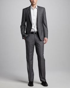 Peak-Lapel Suit & Striped Sport Shirt by Versace Collection at Neiman Marcus.
