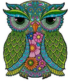 Articoli simili a Chrysanthemum Fairy - Cross Stitch PDF Pattern su Etsy Cross Stitch Owl, Cross Stitch Designs, Cross Stitch Patterns, Owl Coloring Pages, Mandala Coloring, Owl Patterns, Embroidery Patterns, Owl Artwork, Owl Pictures