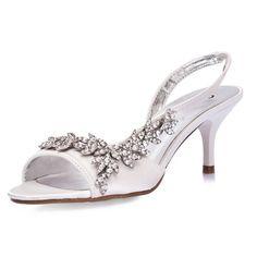 Captivating Womenu0027s Satin Upper Mid Heel Strappy Sandals Wedding Bridal Shoes (Size: 10  B(