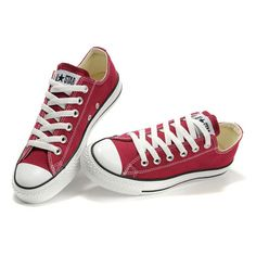 Converse Chuck Taylor All Star Maroon Low Top Canvas Shoes ❤ liked on Polyvore featuring shoes, sneakers, low top, converse trainers, low profile sneakers, canvas shoes and converse footwear