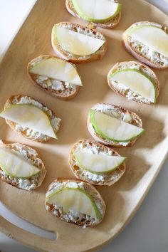 Entertaining for Beginners: Host a Game Night // easy-to-make pear and goat cheese crostinis recipe