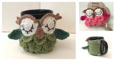 These Crochet Owl Mug Cozy Free Patterns are super quick and fun to crochet even for someone who is really at the beginning of the crochet adventure.