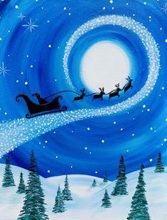 Check out The Magic of Santa's Christmas Flight at Logan's Roadhouse - Natomas - Paint Nite Santa Paintings, Christmas Paintings On Canvas, Scenery Paintings, Christmas Canvas, Christmas Art, Xmas, Easy Canvas Painting, Winter Painting, Diy Canvas Art