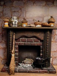 Witchs Creepy Fireplace for Haunted Dollhouse