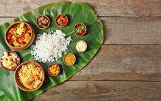 A traditional thali served on a fresh banana leaf. Veg Dishes, Vegetable Dishes, Curry Recipes, Vegetarian Recipes, Banana Leaf Rice, Raw Jackfruit, Veg Thali, Pork Curry, Sweet Spice