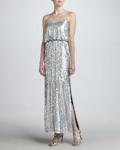Somebody pick this!!!! ~Ash Sequined Spaghetti-Strap Gown by Aidan Mattox at Neiman Marcus.