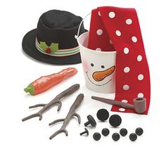 all you need to make a snowman in a bucket~great kids gift basket idea!