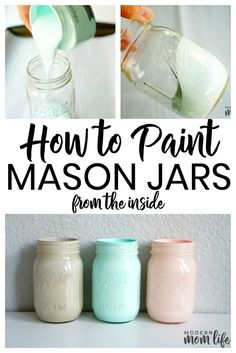 How to paint mason jars from the inside. This easy mason jar project makes great decor pieces for the home. A simple way to paint mason jars from the inside. A step-by-step guide to creating Mason Jar centerpieces for events and home. Mason Jar Projects, Mason Jar Crafts, Mason Jar Diy, Ideas With Mason Jars, Pickle Jar Crafts, Mason Jar Kitchen Decor, Mason Jar Bathroom, Rustic Mason Jars, Chalk Paint Mason Jars