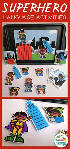 Teaching pronouns, prepositions, and verbs? Superhero themed activities & games by teachingtalking.com