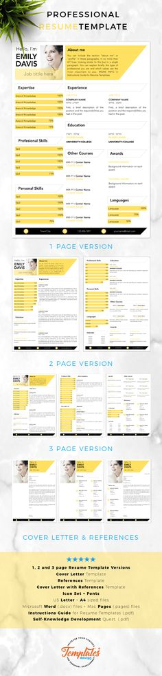 Modern Resume template; Professional Resume, CV for Word and Pages