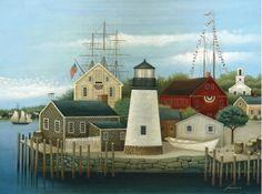 Primitive Fishing Village Painting by Lowell Herrero.