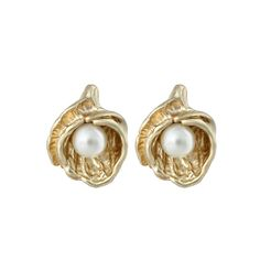 Gold Tint Oyster Shell Pearl Beadstone Fancy Stud Earrings