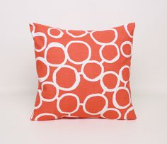 Orange and White Throw Pillow Cover 18x18 by DimensionsHomeDecor