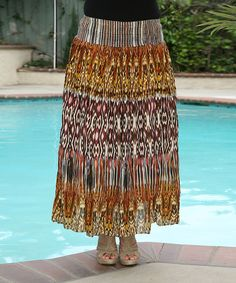 *****Orange & Yellow Ikat Maxi Skirt by Ananda's Collection #zulily*****$9.99