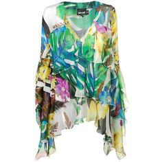 JUST CAVALLI Chiffon Tropical Print Kaftan ($505) ❤ liked on Polyvore