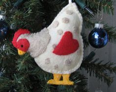 Country Chicken felt ornament
