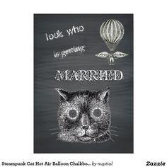 Steampunk Cat Hot Air Balloon Chalkboard 5x7 Paper Invitation Card