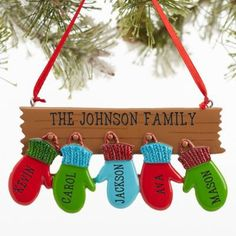 Warm Mitten Family© Personalized Ornament- 4 Name Free personalization & fast shipping. Buy Warm Mitten Family Personalized Family Christmas Ornaments you can customize with names of each family member. Christmas Gifts For Kids, Christmas Projects, Handmade Christmas, Holiday Crafts, Christmas Wreaths, Christmas Crafts, Christmas Decorations, Christmas Signs, Merry Christmas Banner