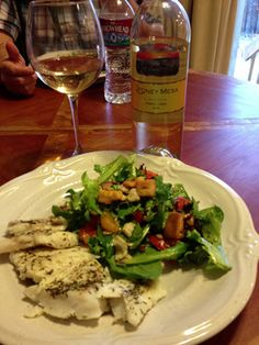Food is Best Served with Yummy Wines Baked Cod, salad and @Sarah Stoney Mesa Gewurztraminer