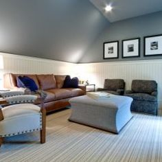 This is exactly what I want when our bonus room is complete! Love the gray with white beadboard!