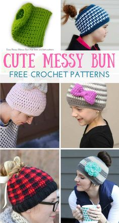 These messy bun crochet hat patterns are the hottest thing in crochet. Make one for the long-haired people in your life. These make great gifts!