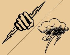 Cloud and hand lightning bolt tattoo designs #NeatTattoosIWouldHave