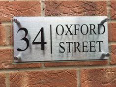 Modern house sign plaque door number glass acrylic aluminium street name Roman Fonts, Door Numbers, Shattered Glass, Street Names, Home Signs, Solid Oak, Doors, Modern, House