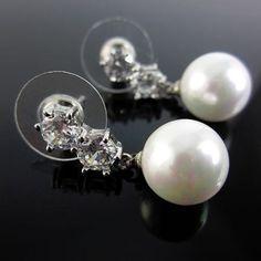 03da4fcbb413 Aretes Mujer Zircon Perlas Baño Oro Blanco Lindas Joyas