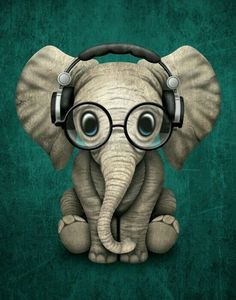 Cute Baby Elephant Dj Wearing Headphones and Glasses on Blue. This adorable baby elephant illustration, is available on many products. So Cute Baby, Cute Babies, Animals And Pets, Baby Animals, Funny Animals, Cute Animals, Image Elephant, Elephant Art, Elephant Design