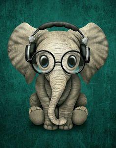 Cute elephant listening to music