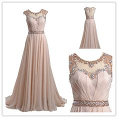 Tidetell.com Exquisite A-line Scoop Long Chiffon Prom Dress with Beads