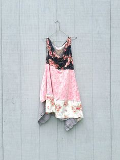 funky Black Pink Floral patchwork Dress upcycled clothing