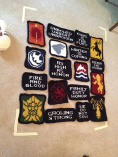 All of the pieces for my Game of Thrones blanket ready to be sewn together! - Imgur