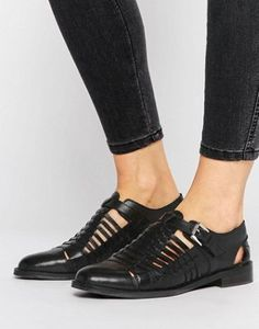 ASOS MONUMENT Leather Woven Flat Shoes