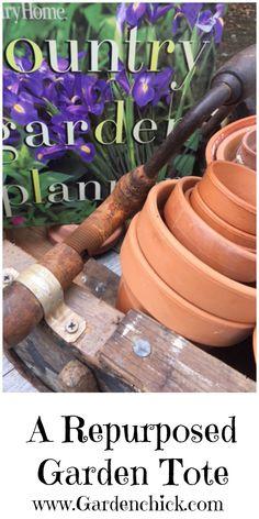 repurposed garden tote to pin