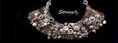 Necklace (hexagonal,beads,rhinestones)