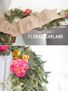 Floral Garland DIY - this is a great tutorial on how to make something that has a lot of impact but apparently only takes about an hour (for the flower part) and a little over $100.
