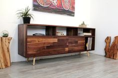 Walnut Console TV Stand Media Console Wood Furniture Console Table TV Console Entertainment Center M Modern Entertainment Center, Entertainment Room, Modern Console Tables, Console Tv, Behance, Record Storage, Trends, Wood Furniture, Outdoor Furniture