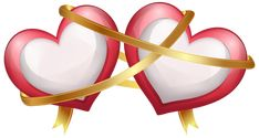 Two Hearts with Ribbon Transparent PNG Clip Art Image