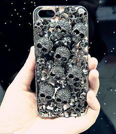 £4.99 GBP - Delux Cool Luxury Bling Black Skull Diamante Case For Apple Iphone 6S 7 8 X #ebay #Electronics