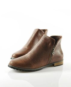 Brown Ankle Boots with Side Zip Closure