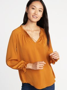 31f68621fe6c Relaxed Satin Poet-Sleeve Blouse for Women. Shop Old NavyCloset ...