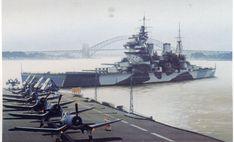 KGV type battleship HMS Anson (79) and a aircraft carrier with (Vought F4U Corsair's) on flight deck, 1940.