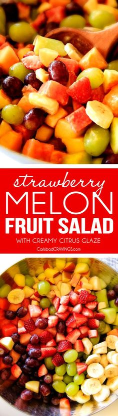 Strawberry Melon Fruit Salad with Creamy Citrus Glaze - I took this to a barbecue and it was gone in minutes! Its so cool and refreshing withe the BEST GLAZE and I love the combo of melons, strawberries, bananas, apples and grapes! Fruit Salad Recipes, Fruit Salads, Fruit Drinks, Fruit Kabobs, Brunch, Healthy Snacks, Healthy Recipes, Watermelon Salad, Fruit Dishes