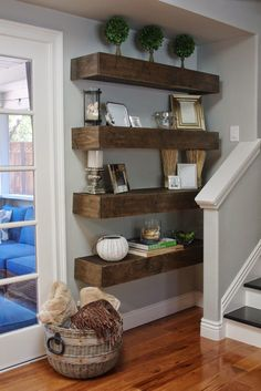 simply organized: Simple DIY: Floating Shelves Tutorial + Decor Ideas