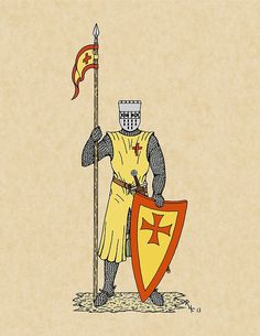 SOLD 11/18/2016 through Redbubble to a customer in Germany: 1x Greeting Card of Crusader Knight, Early 13th Century, Card Style: 100mm x 150mm Postcard.  #sold #redbubble #postcard #Crusader_knight #medieval_knight #mailed_knight #knight #Crusader