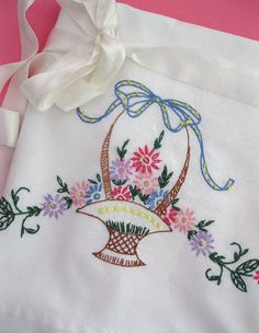 Perfect vintage embroidered pillowcase!
